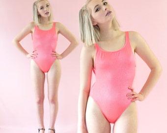 Neon Coral Ribbed High-Cut Swimsuit, Aerobic Bodysuit, Vintage One-Piece, Women's Size Medium