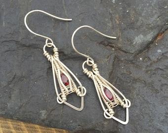 Wire Wrap Earrings - Garnet Earrings - Gemstone Earrings - January Birthstone - Wire Wrapped Jewelry - Wire Wrap - Garnet and Silver