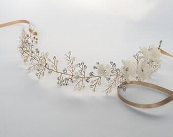 Crystal Wedding Headband, Champagne Bridal Headpiece, Flower Crown, Boho Bridal Headpiece, Hair Vine, Bridal Hair Wreath-CUSTOM ORDER