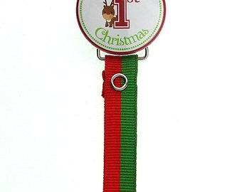 Red & Green 'My First Christmas' Reindeer Pacifier Clip (R1ST-3) (MSRP 19.00)