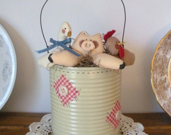Chicken, Pig, and Goose in a Tin Can Kitchen Decoration