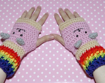 Nyan Cat Fingerless Gloves -Nyan Cat-Mittens-Winter Gloves-Christmas Gift-Crochet-Geek
