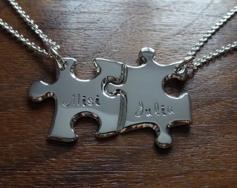 Handmade Best Friend Puzzle Pendants with Names 4