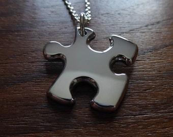 Silver Puzzle Piece Pendant Necklace (Thick)
