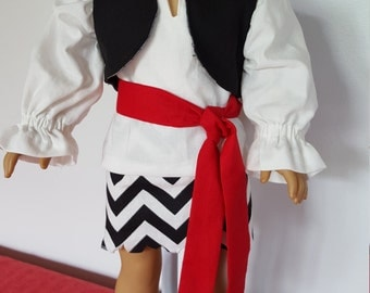 """Priate Outfit Fits American Girl or 18"""" doll"""