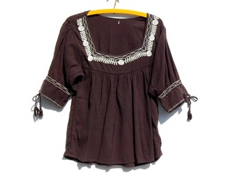CHOCOLATE BROWN......Cotton Gauze Mexican Top