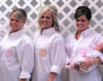 Set of 7 Wedding Shirts Oversized Shirts Bridesmaid Shirts Personalized Bridesmaid Gifts Monogram