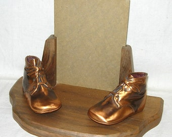 Bronze Baby Boots Shoes w/ Picture Frame Bronzed Infant Child Booties 1940s