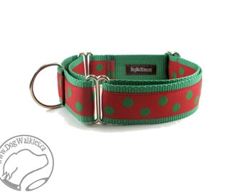 "Green Elf Dots Christmas Dog Collar - 1.5"" (38mm) Wide - Choice of collar style and size - Martingale Dog Collars or Quick Release Buckle"