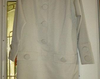 Vintage Size 10 Nipon Boutique Oyster Wool Gabardine Chemise Dress, Ca. 1980's, USA