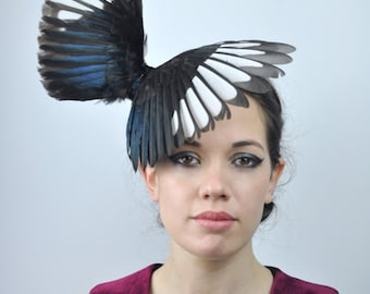 Magpie Wing Headpiece Fascinator in Black and White   Wing Hat   Winged Headpiece   Magpie Wing Fascinator   Magpie Headpiece