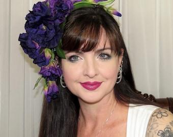 DARKLY PURPLE Fantasy Floral Headdress Hair Adornment ooak