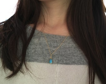 Tiny Gold Turquoise Stone Teardrop Necklace