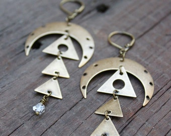 THE MOON Boho Statement Earrings • Herkimer DIAMOND Quartz • Healing Quartz • Boho Chic • Bohemian • Dangle Earrings • Nature Inspired