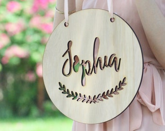 Personalized baby name plaque, nursery wall decor, wood baby name sign