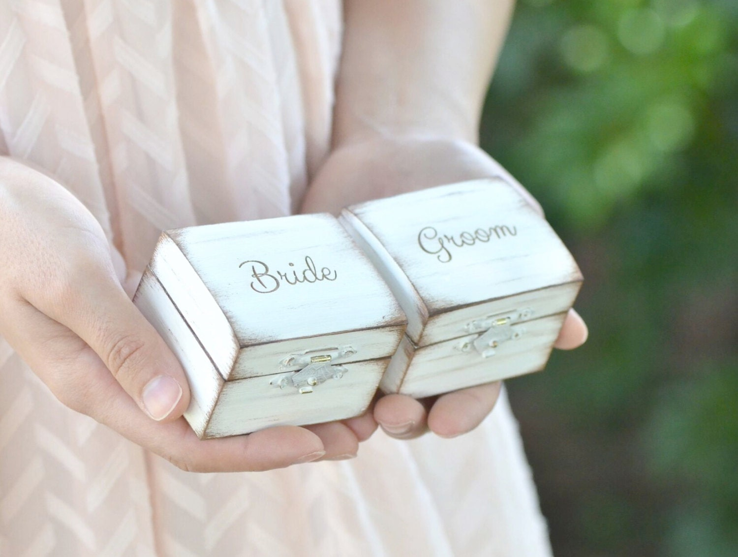 Bride & Groom's Ring Boxes Rustic Ring Box Set