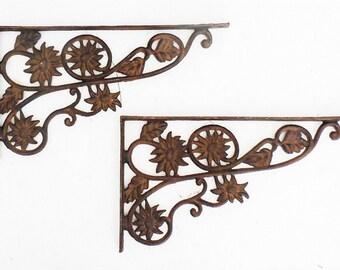 Wrought Iron Shelf Brackets Floral Design