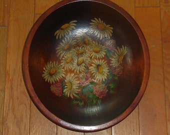 Carved Wooden Bowl Painted Daisies Hand Made Wall Hanging OR Table Display