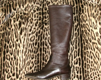 Brown Leather Boots / Knee High Leather Boots / Chocolate Brown Boots Sz 7.5