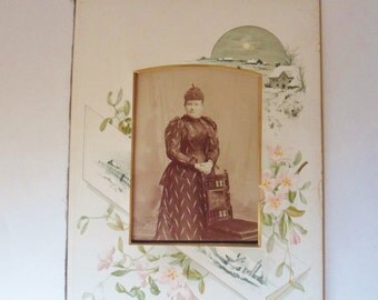 Antique Photo Album Frame, Color Picture Mat with Snowy Countryside