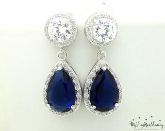 Wedding Earrings Teardrop Bridal Earrings Dark Blue Earrings  Cubic Zirconia Post Earrings Wedding Vintage Jewelry