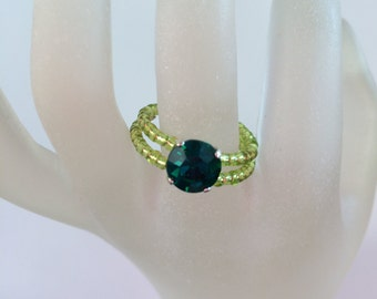 Lime Green Ring with dark green rhinestone and Glass Rocaille beads by JulieDeeleyJewellery on Etsy