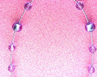 Lavender Purple Rocaille and Foiled Lilac Bead Necklace with faceted crystal beads by JulieDeeleyJewellery on Etsy