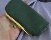 Green Leather Coin Purse Womens Vintage Accessories