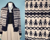 RESERVED for ERIN do not purchase Vintage 60s Cream Navy Nordic Scandinavian Sweater