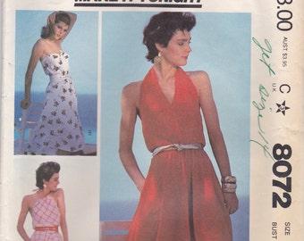 Strapless or Halter Dress Pattern McCalls 8072 Size 12