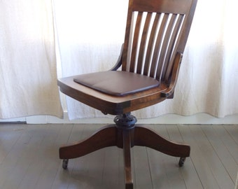 Vintage Sikes Wood Swivel Office  Bankers Chair Leather Seat