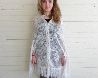 Vintage lace crochet shawl . vintage lace poncho.