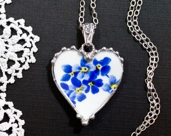Necklace, Broken China Jewelry, Broken China Necklace, Heart Pendant, Bright Blue Floral China, Sterling Silver
