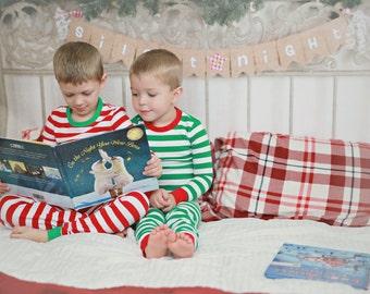 RTS Christmas pajamas PJs Personalized red green white stripes baby toddler kid PJs heat vinyl name or sparkle monogram holiday photo ideas