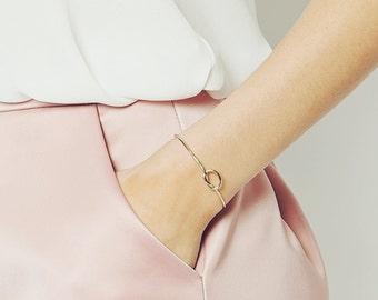 Gold silver love Knot cuff bracelet
