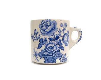 Vintage Royal Crownford Charlotte Ironstone Mug Made in England Blue Flower Basket Coffee Cup