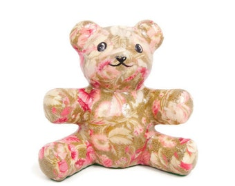 Vintage Decoupage Paper Mache Floral Design Teddy Bear Figurine Pinks and Greens