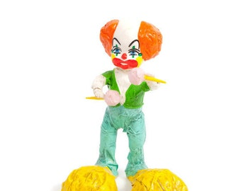 Vintage Paper Mache Clown With Maracas Mexican Folk Art Hand Painted Hand Crafted Childs Room Decor