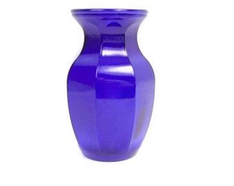 Vintage Blue Glass Vessel Embossed GGG Marking 8 Inch Cobalt Blue Vase Flower Arrangement Centerpiece