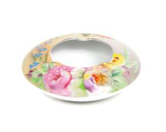 Vintage Narumi China Occupied Japan Ashtray Flower Garden Pattern Hand Painted Porcelain Barware