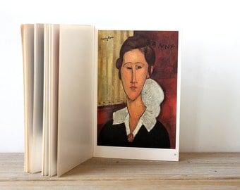 Modigliani modern art vintage print booklet / retro modern portrait art prints book / home decor fine art bookplate prints / portrait prints