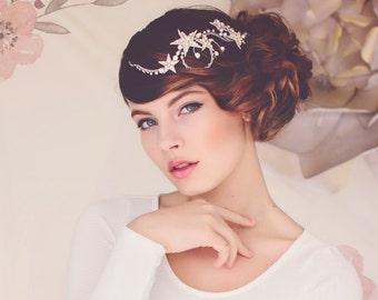 Custom Couture Wedding Star Hair Jewelry Headpiece, Weddings, Wedding Headpiece, Star Headpiece, the Cassiopeia Silver Star Hair Vine #133