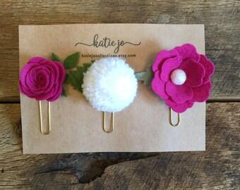 Felt Flower and Pom Pom Paper Clips/Planner Clips/Planner Accessories/Felt Flower Bookmarks