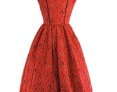 50s Red Full Skirt Quilted Dress by Serbin Swiss-Ette - sm