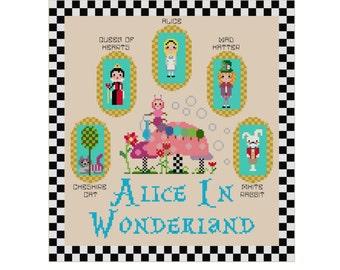 Alice In Wonderland Cross Stitch Pattern - Kawaii Cross Stitch Pdf - Cross Stitch Sampler - Cute Cross Stitch Patt