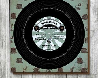 Record Birthday Invitation, Vintage, Steampunk Birthday Party, Music Theme Birthday, Victorian, Retro Birthday Party