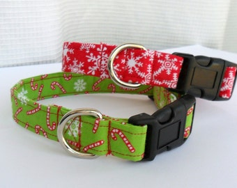 Christmas dog collar and leash - Candy canes on green or snowflakes on red, matching bandanas available