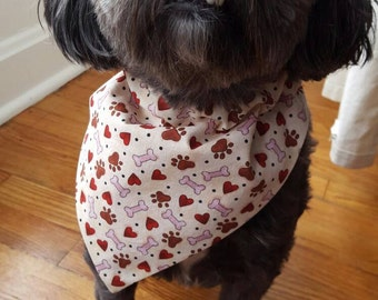Dog Bandana - Red with hearts and paw prints, over the collar, Cat Bandana, super cute