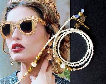 Eyewear holder, Cream and gold, Glasses beaded chain, Sunglasses holder, Eyewear chain, Glasses chain, Sunglasses, Reading glasses, Handmade