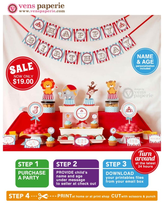 Vintage Blue Carnival Circus  Birthday Party Package Personalized FULL Collection Set - PRINTABLE DIY - PS801CA1x